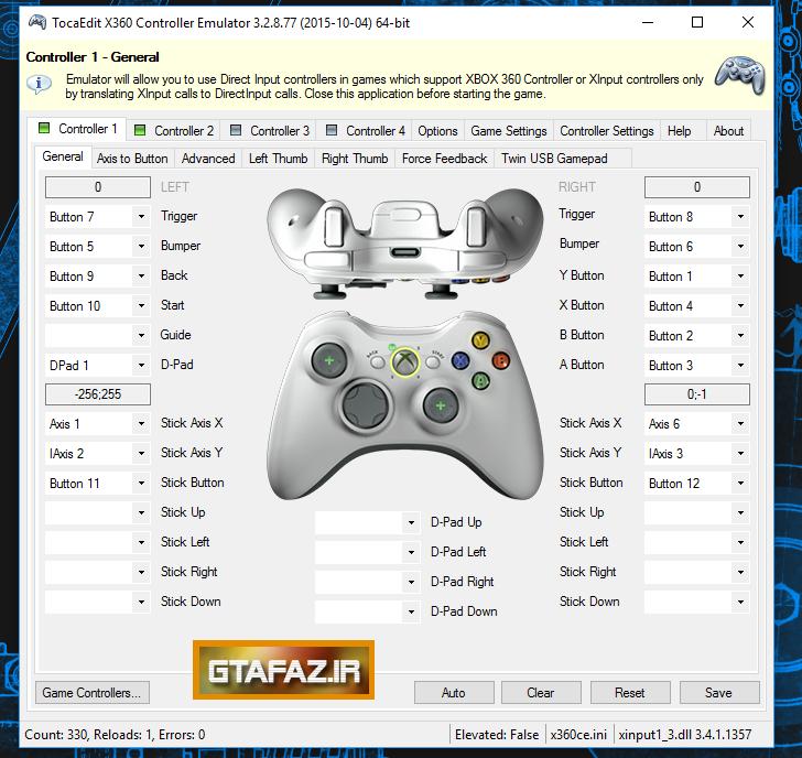 دانلود نرم افزار x360ce برای بازی کردن جی تی آی v با دسته